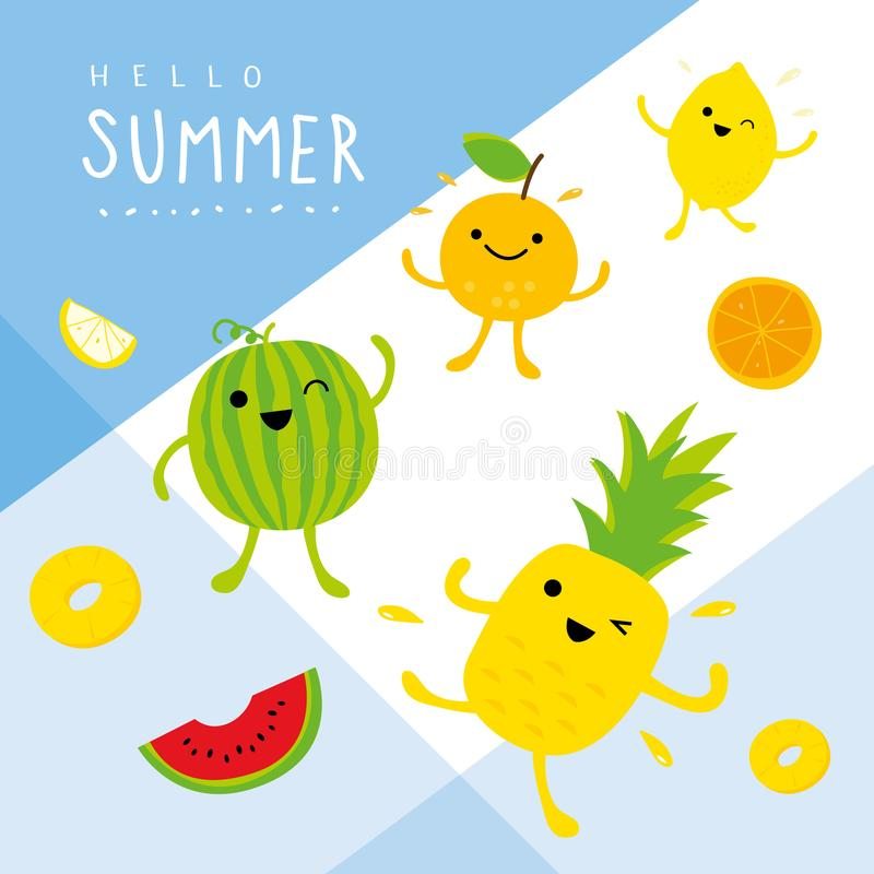 Summer Fresh Fruit Pineapple Watermelon Lemon Orange Cartoon Smile Funny Cute Set Character Vector. Design royalty free illustration