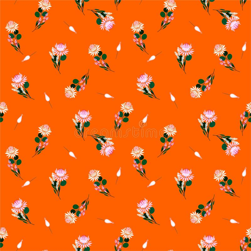 Summer and fresh liberty of Protea flowers Vector isolated abstract seamless pattern florals and plants. Decorative design vector illustration