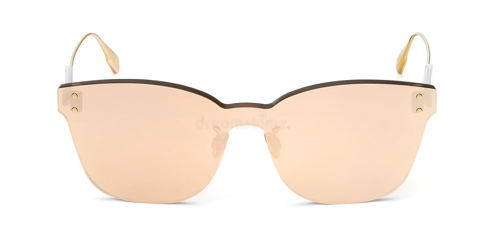 Summer front view Sunglasses isolated on white background. Mirror eyeglasses mockup for your design royalty free stock images
