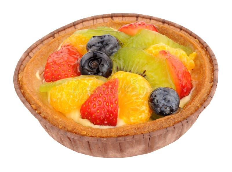 Summer Fruit Dessert Tart. Sweet summer fruit dessert tart isolated on a white background stock image