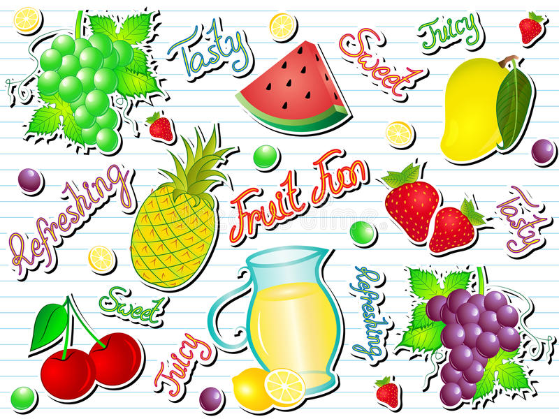 Summer Fruit Fun Doodle Vector Illustration. Summer Fruits Set Vector Illustration Doodle with Texts