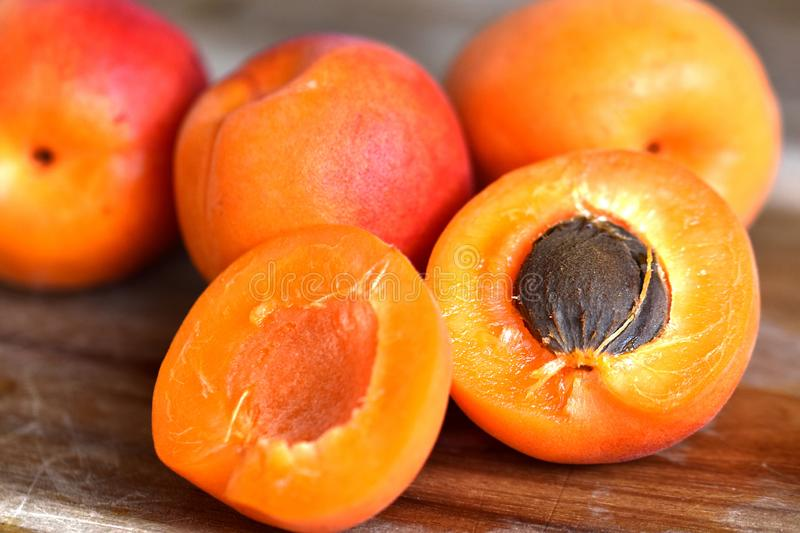 Summer fruit, juicy ripe apricots stock images