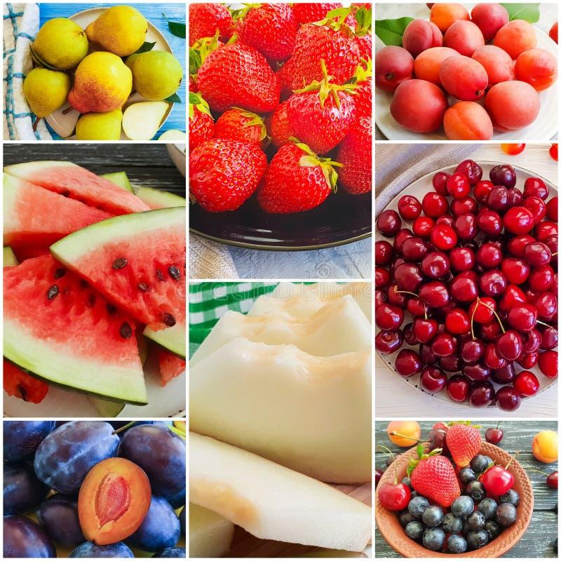 Summer fruit seasonal food collage. Assortedn stock photo