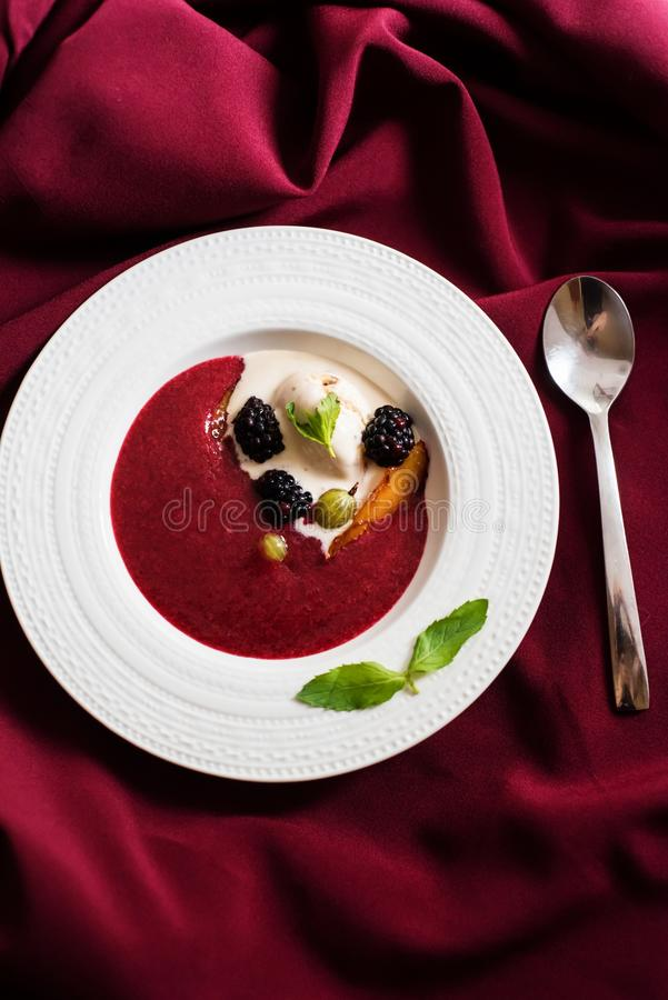 Summer fruit soup stock photography