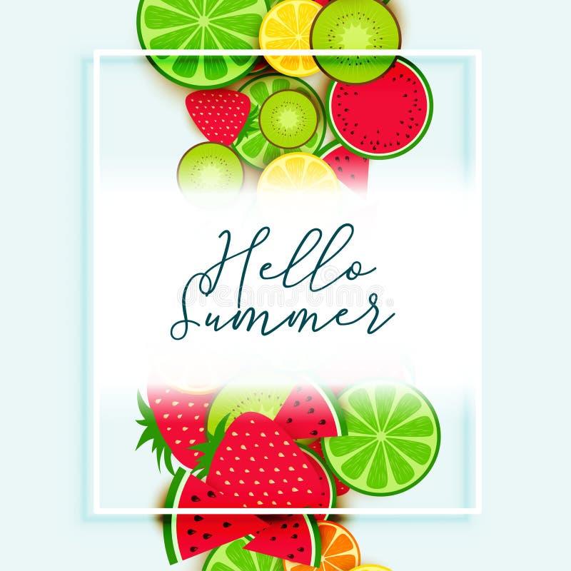 Summer fruits background vector design royalty free illustration