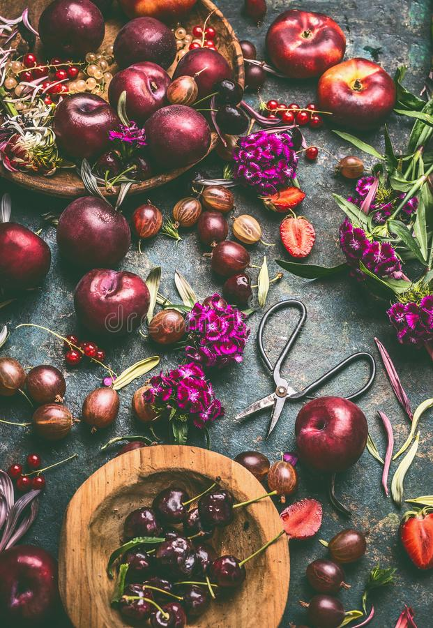Summer fruits and berries still life on dark rustic background with wooden bowls and garden flowers stock photography