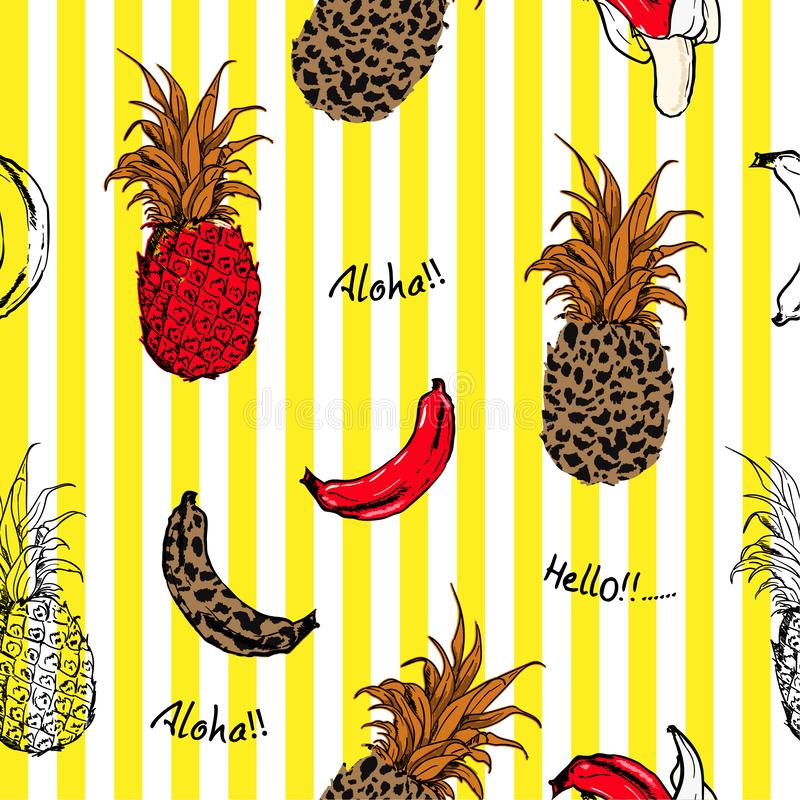 Summer fruits pineapple and bananas fill in with animal leopard skin seamless pattern in design for fashion fabric and all. Prints on yellow stripe background stock illustration