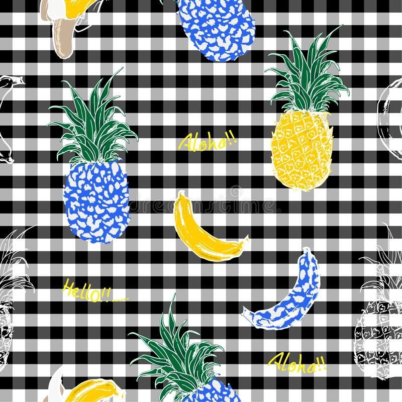 Summer fruits pineapple and bananas fill in with animal leopard skin seamless pattern in design for fashion fabric and all. Prints on classic gingham check royalty free illustration