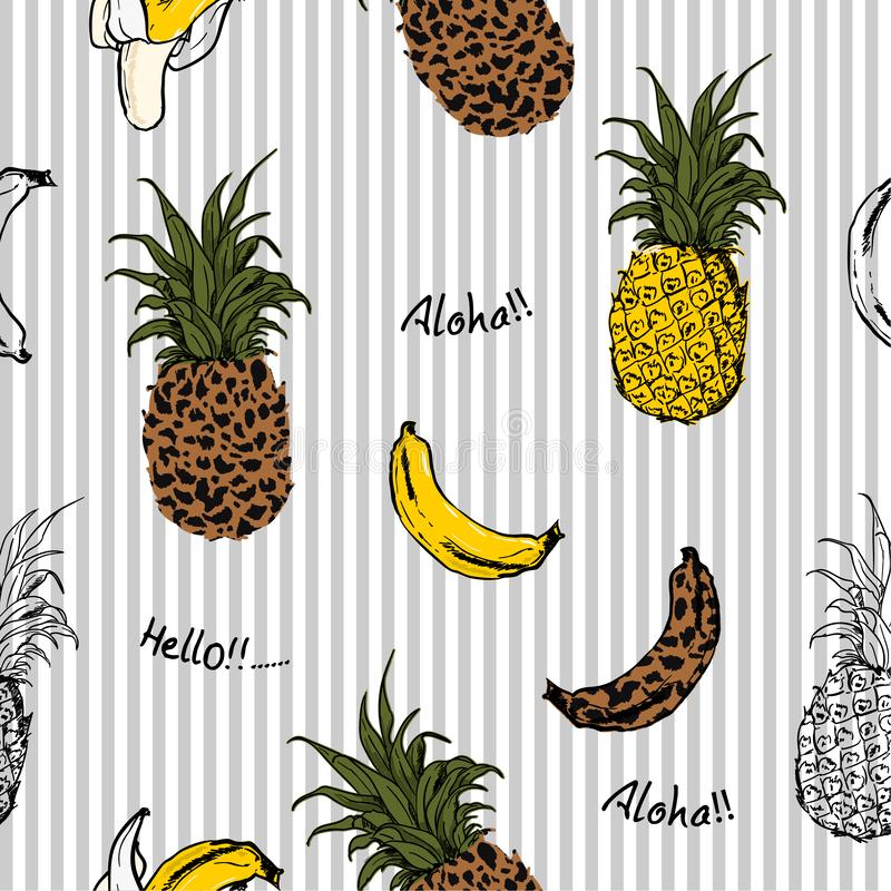 Summer fruits pineapple and bananas fill in with animal leopard skin seamless pattern in design for fashion fabric and all. Prints on light grey stripe vector illustration