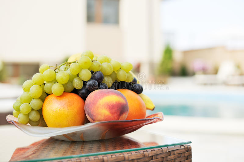Summer fruits on table royalty free stock photos