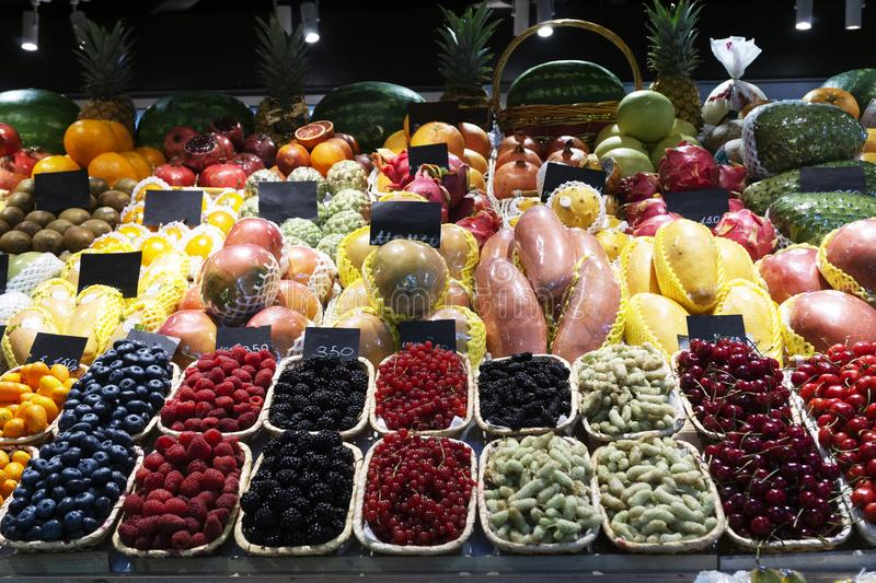 Summer fruits and berries on the market stock image