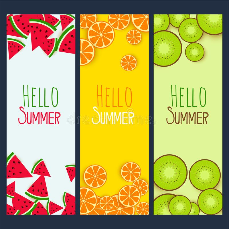 Summer fruits verticle banners set stock illustration