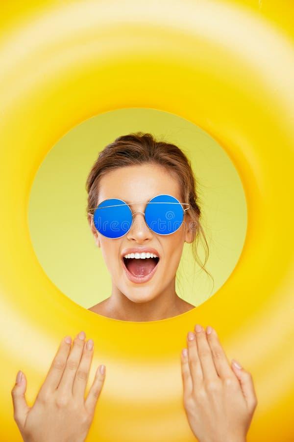 Summer Fun. Beautiful Woman Wearing Sunglasses. royalty free stock photography