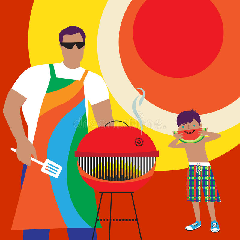 Summer fun with Daddy. Hot summer day. Father and son outdoors doing BBQ and having fun stock illustration