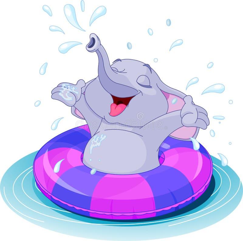 Summer fun elephant. Swimming with lifesaver vector illustration