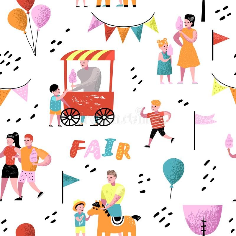 Summer Fun Fair Seamless Pattern. Amusement Park Characters with Cartoon People. Family Kids Vacation Background. For Wallpaper, Fabric. Vector illustration royalty free illustration