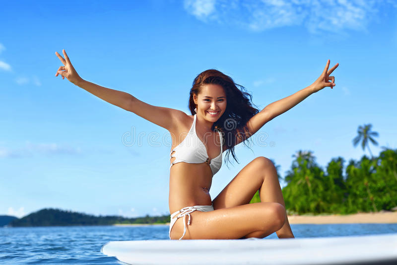 Summer Fun. Happy Healthy Woman In Sea. Travel Vacation. Lifest stock photos