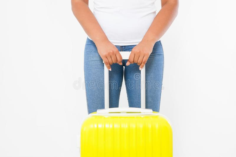 Summer fun holiday. Afro american woman with yellow suitcase isolated on white template and blank background. Work and travel. Summertime african hipster girl stock photography