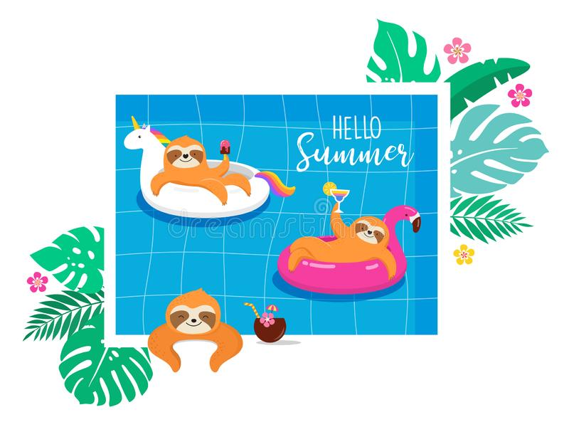 Summer fun illustration with cute characters of koalas and sloths, having fun. Pool, sea and beach summer activities vector illustration