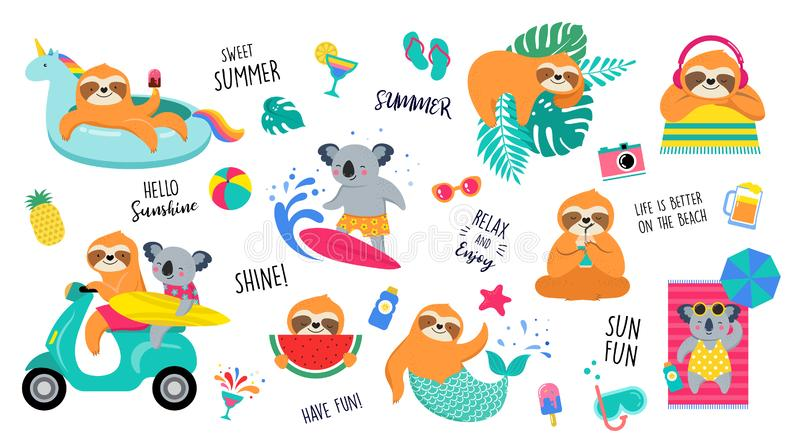 Summer fun illustration with cute characters of koalas and sloths, having fun. Pool, sea and beach summer activities. Concept vector illustration templates royalty free illustration