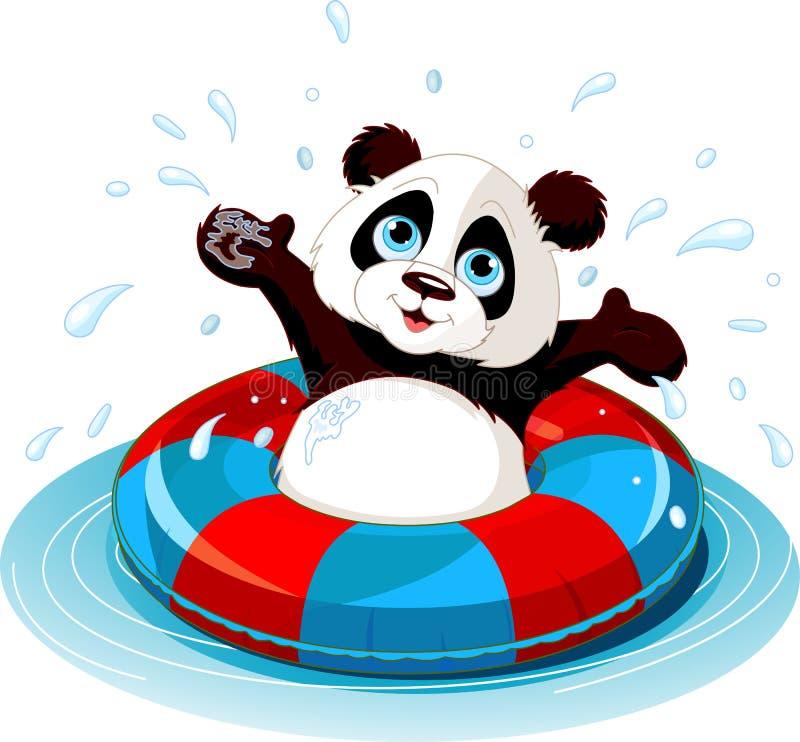 Summer fun Panda. Summer fun. Happy Panda swimming royalty free illustration