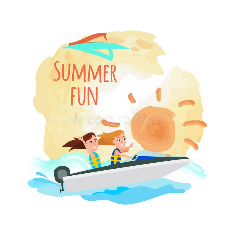 Summer Fun Poster Boating Girls, Water Adventure. Summer fun promo poster with boating girls, water activity at summertime, women having great time while riding royalty free illustration