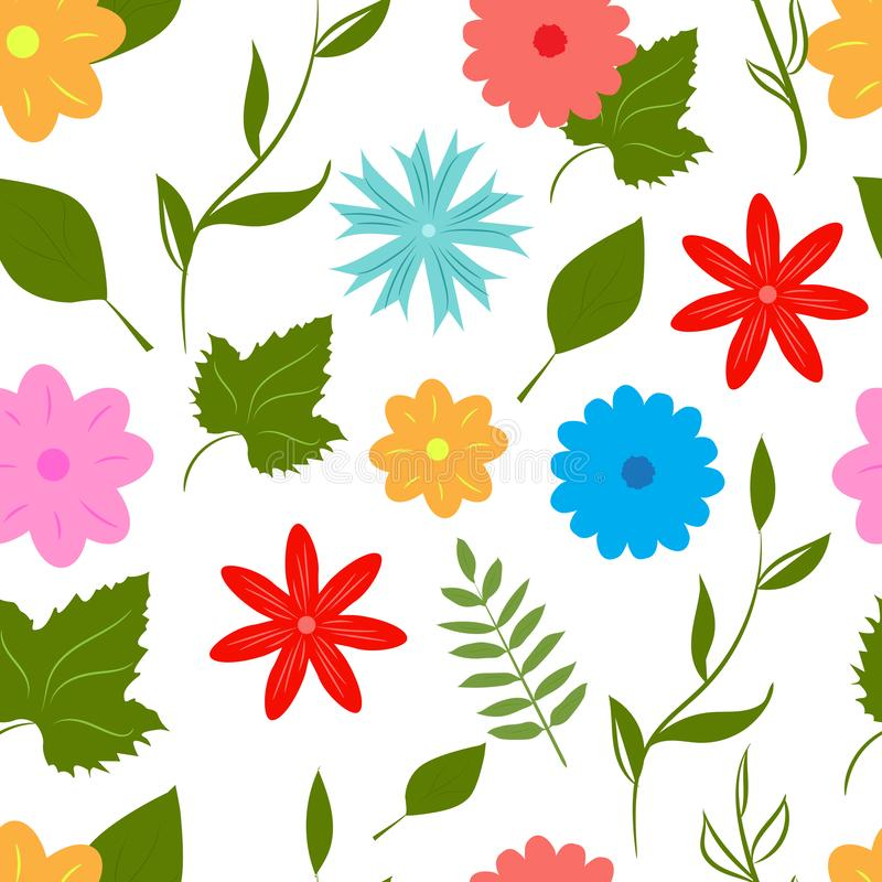 Summer fun seamless flower pattern stock photos