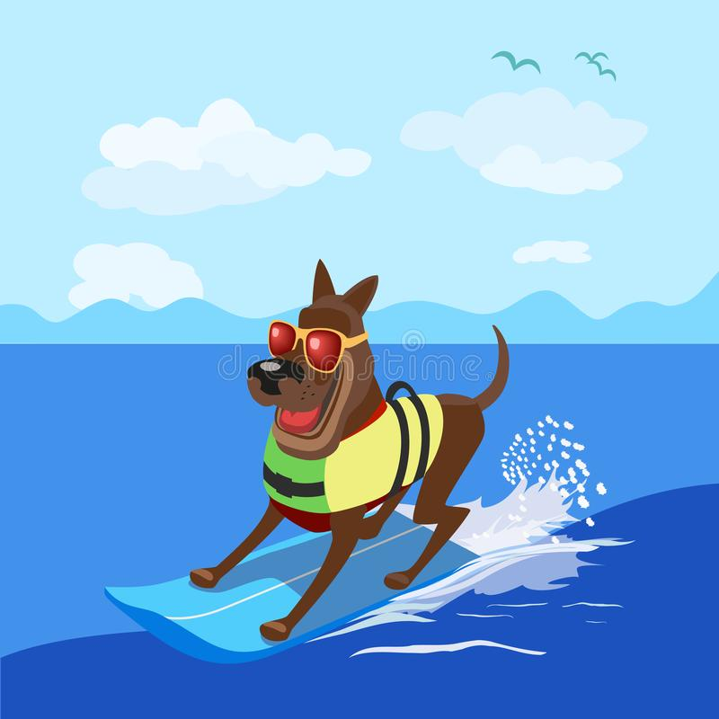 Summer fun sport. Concept. Dog surfing at beach. Pet in life vest on surfboard. Comic surfer cartoon. Adventure activity on Dogs days of summer. Canine surf stock illustration