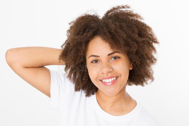 Summer fun time. Smiling beautiful african american girl with afro curly hairstyle isolated on white template and blank background stock photography