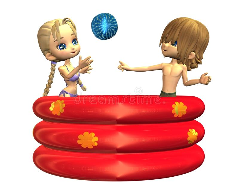 Download Summer Fun - Toon Teens In The Paddling Pool Stock Illustration - Image: 10467566