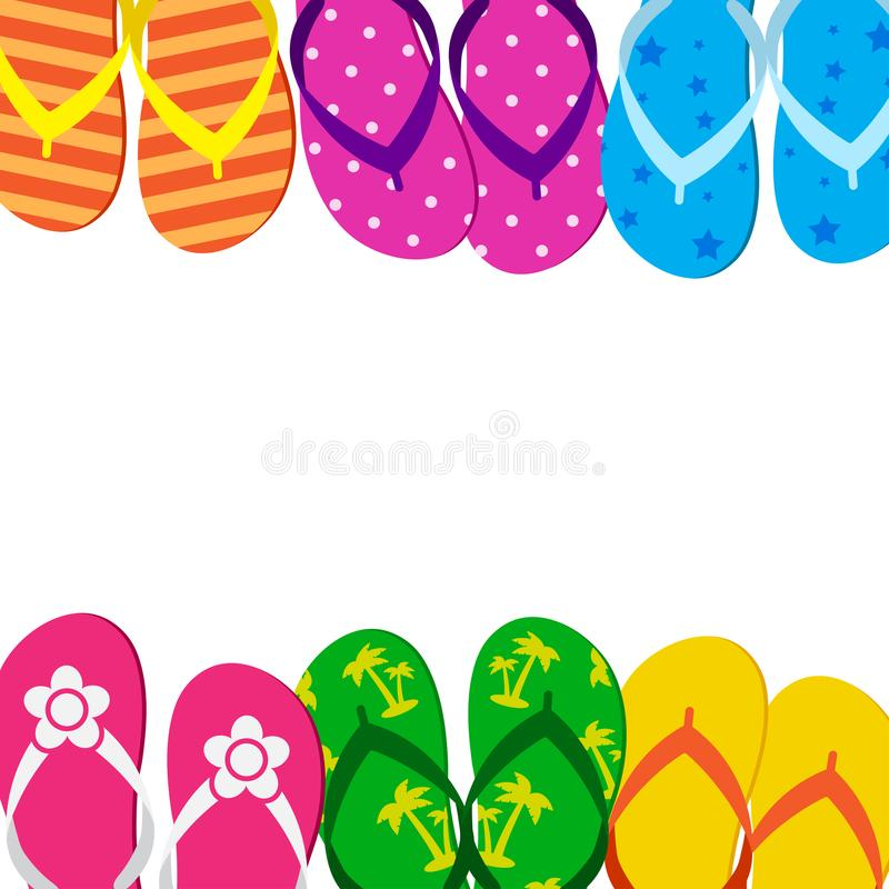Summer funny background with bright colorful flip flop, foot wear. Space for your text. Vector. Illustration stock illustration