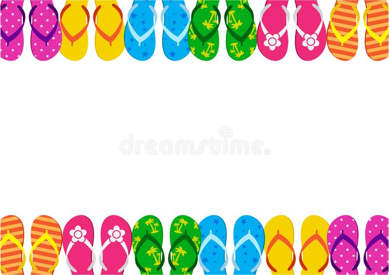 Summer funny background with bright colorful flip flop, foot wear. Vector illustration. Summer funny background with bright colorful flip flop, foot wear. Space royalty free illustration