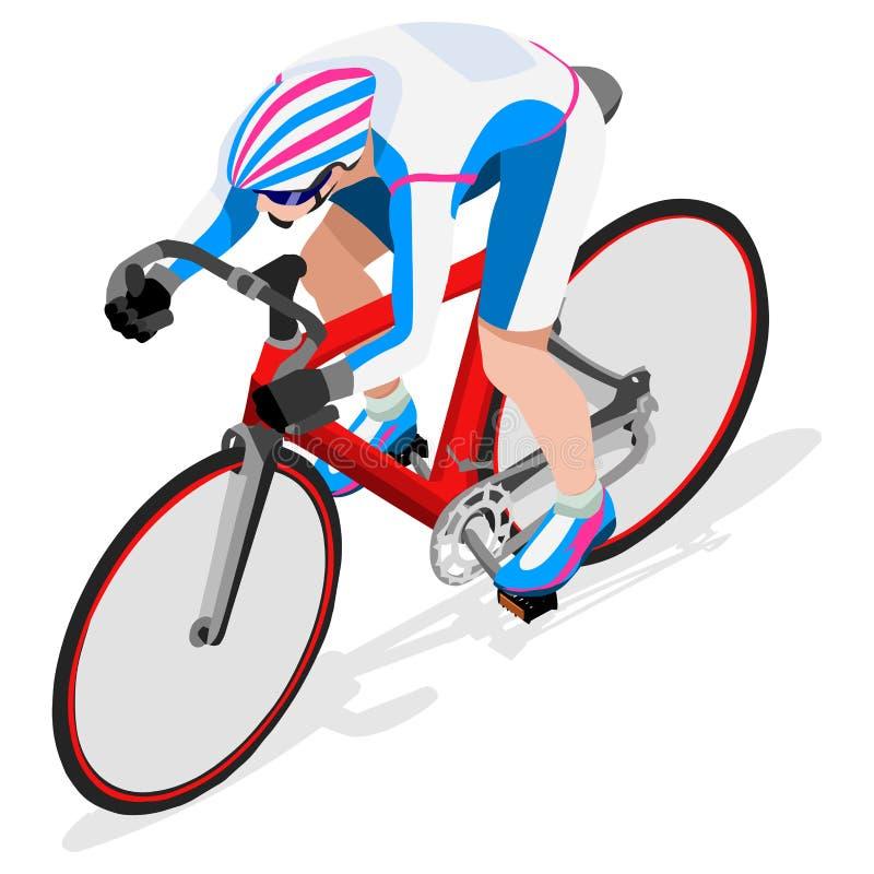 Summer Games Icon för idrottsman nen för spårcyklistcyklist uppsättning OS:er spårar att cykla hastighetsbegrepp isometrisk idrot vektor illustrationer