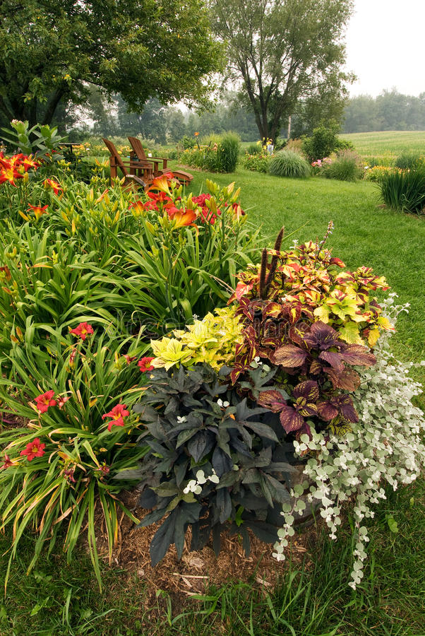 Summer garden. A container garden in the foreground of a bed of daylilies in a perennial garden in Barry Co., Michigan stock photo