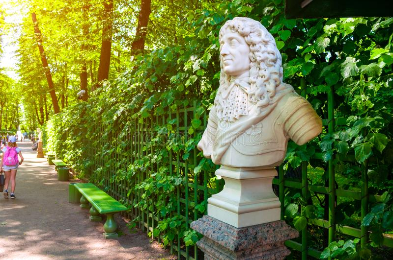 Summer garden, St Petersburg, Russia.The sculpture of The sculpture of Frederick I, Elector of Branburg, King of Prussia. St Petersburg, Russia - June 6, 2019 royalty free stock images