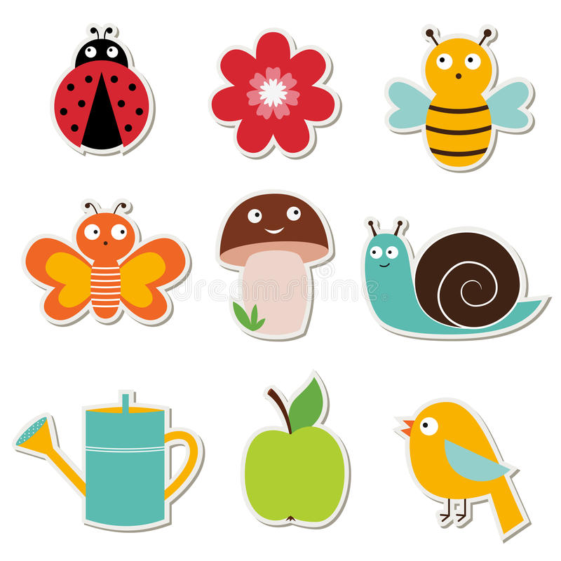Download Summer Garden Stickers Set Royalty Free Stock Images - Image: 25977719