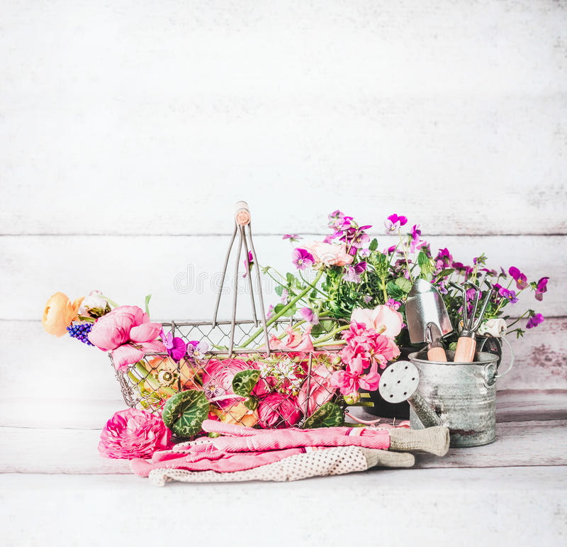Summer Gardening With Basket Of Flowers Garden Tools And Watering