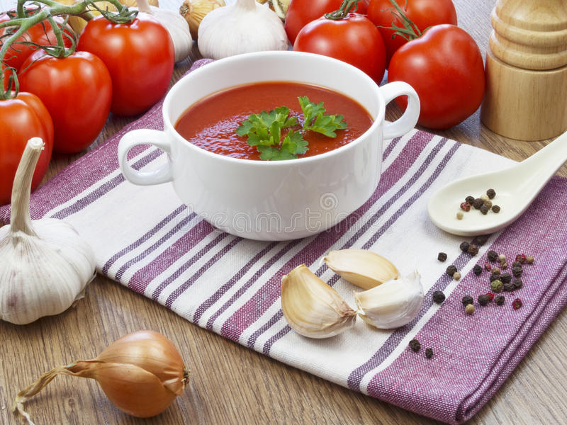 Summer gazpacho soup with vegetables royalty free stock photo