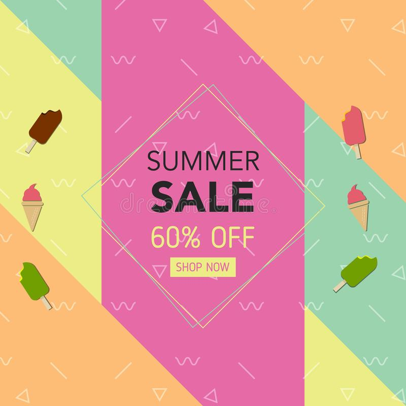 Summer Geometric Colorful Background with, Ice-Cream. Vector Illustration Template for Banner, Flyer, Invitation, Poster, Brochure vector illustration