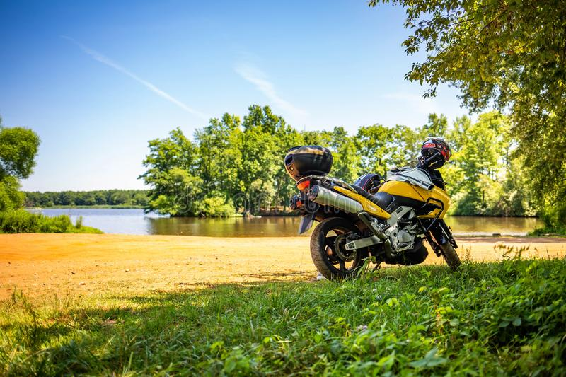 Summer get away on motorcycle road trip royalty free stock photography