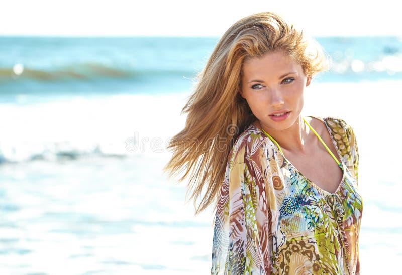 Summer girl. Beautiful summer girl on beach stock photography