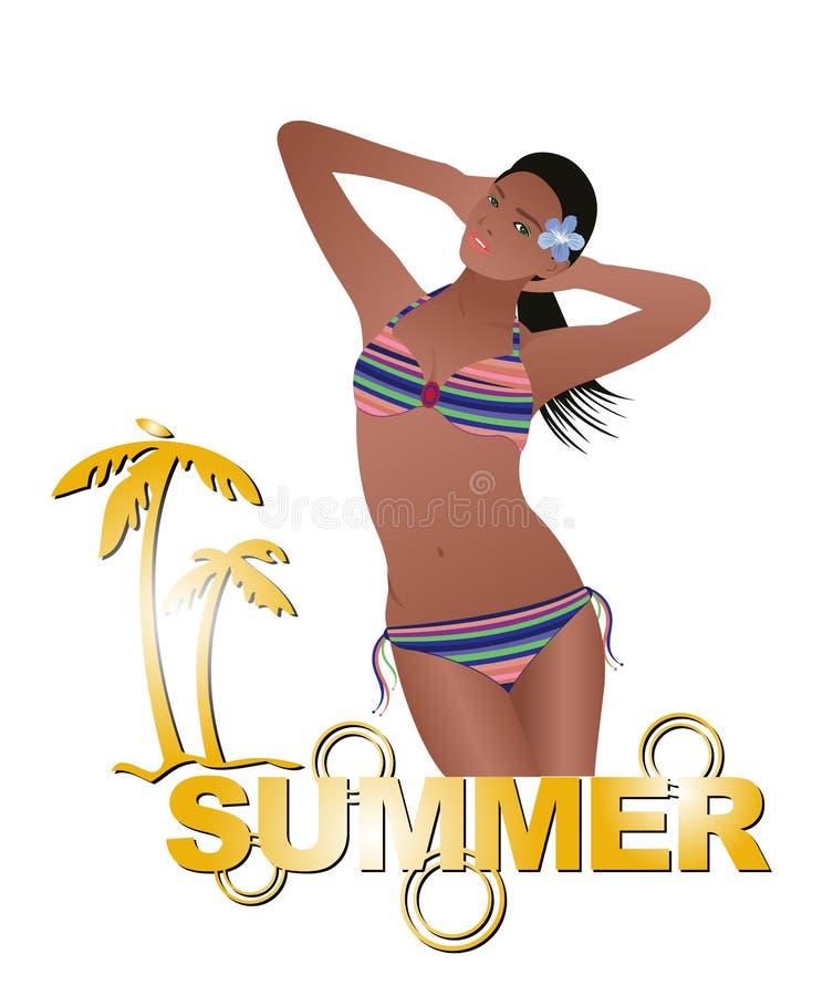 Summer girl with bikini stock illustration