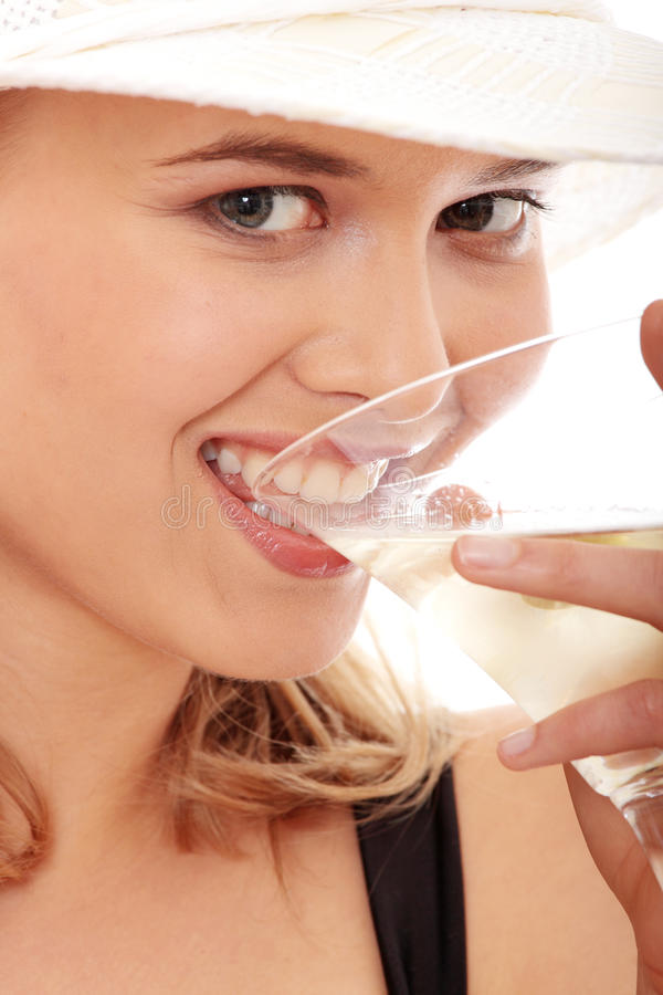 Summer Girl Drinking Martini Royalty Free Stock Photography