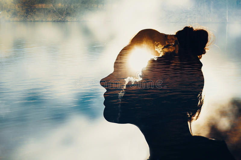 Summer girl. Female with light head and brain royalty free stock photo