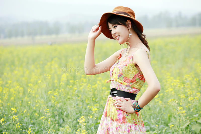 Download Summer girl in field. stock photo. Image of charm, dress - 19792604
