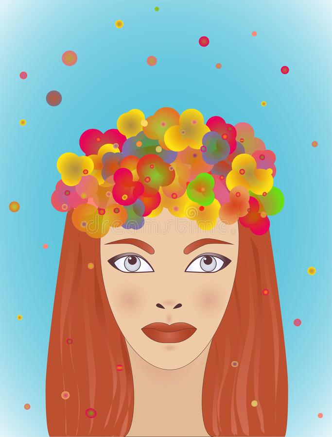 Summer girl with red hair. Bright watercolor. Woman face. Fashion illustration. Hand painted artwork. Girl with long red hair. stock illustration