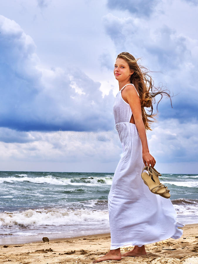 Summer girl sea look on water royalty free stock image