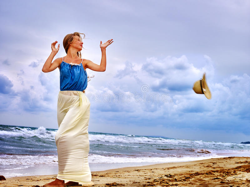 Summer girl sea look on water royalty free stock images