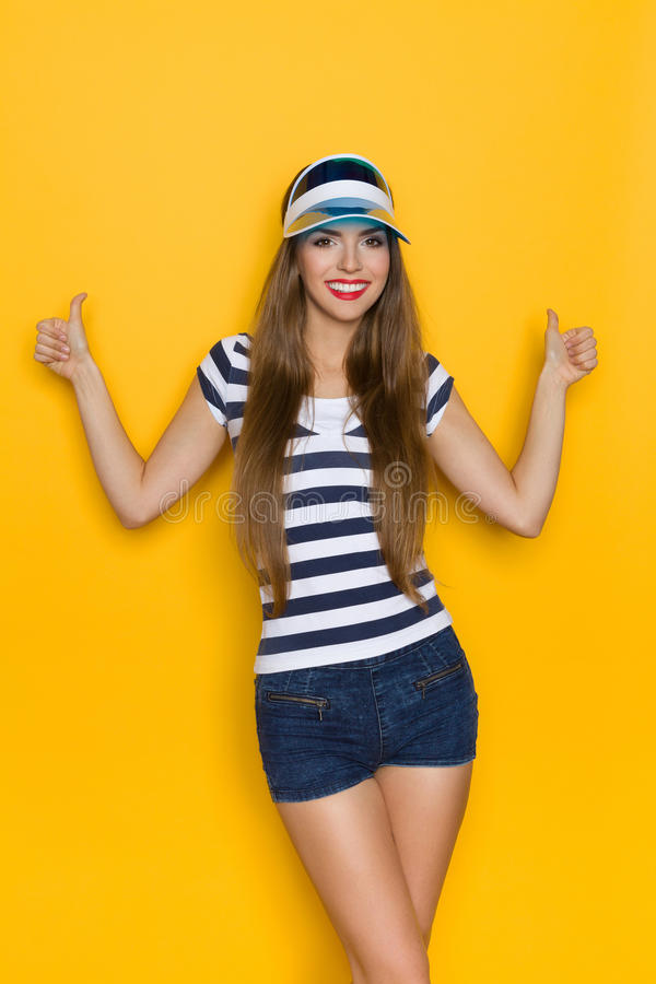 Summer Girl In Striped Shirt Gives Like stock image