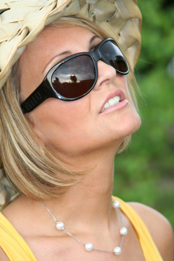 Summer girl with sun glasses. Attractive beauty woman smiling. beauty series summer time royalty free stock photo